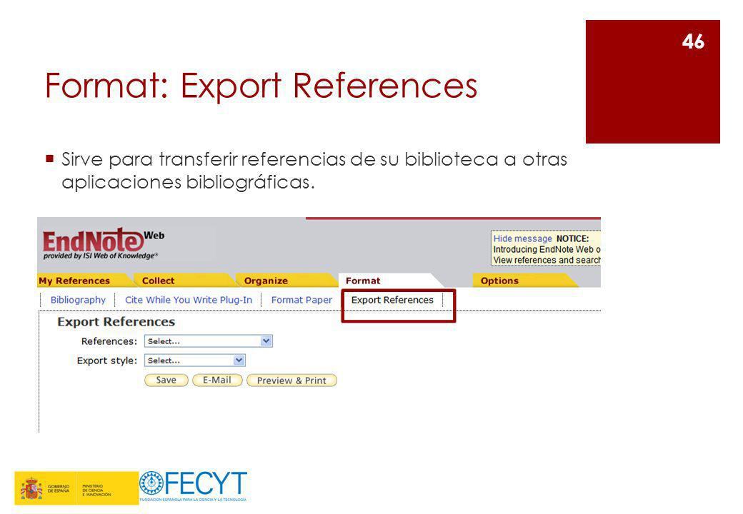 Format: Export References