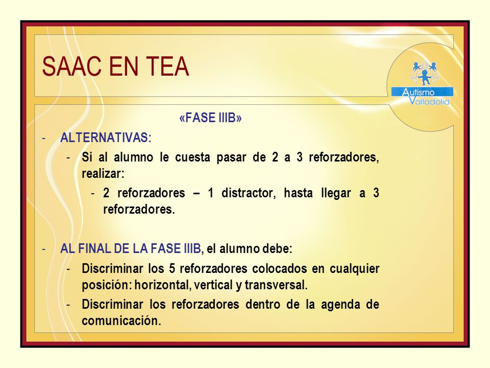 SAAC EN TEA «FASE IIIB» ALTERNATIVAS: