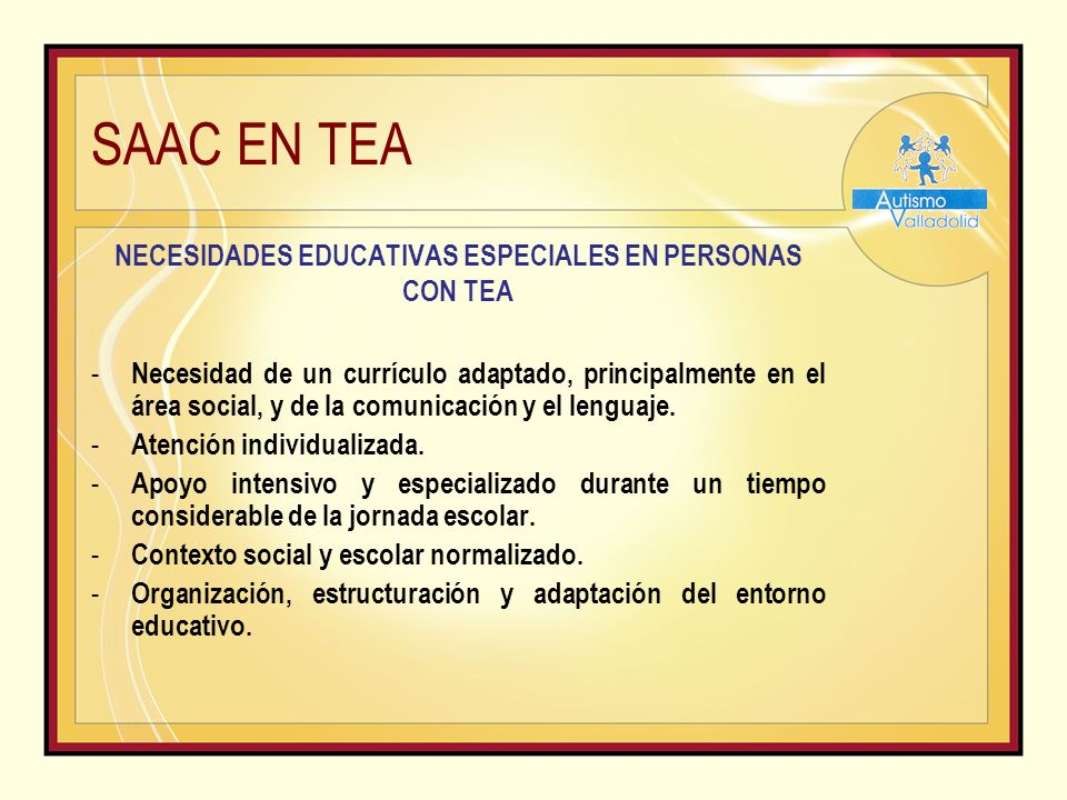 NECESIDADES EDUCATIVAS ESPECIALES EN PERSONAS CON TEA