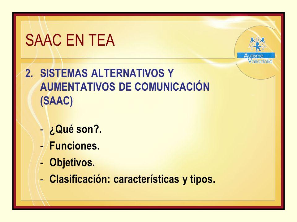 SAAC EN TEA SISTEMAS ALTERNATIVOS Y AUMENTATIVOS DE COMUNICACIÓN (SAAC) ¿Qué son . Funciones. Objetivos.