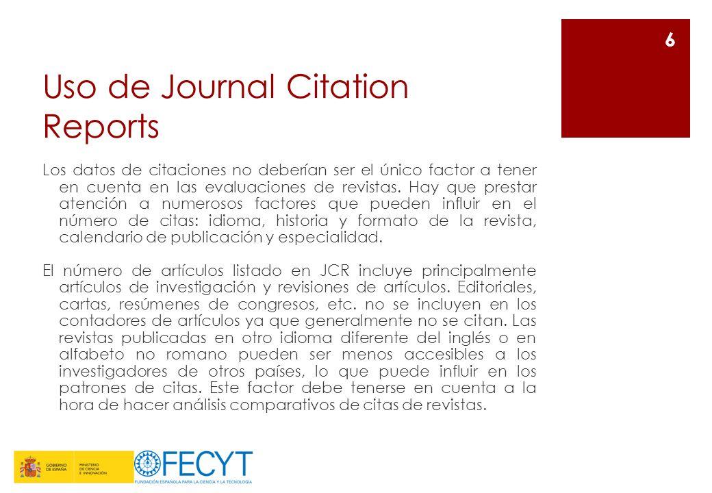 Uso de Journal Citation Reports