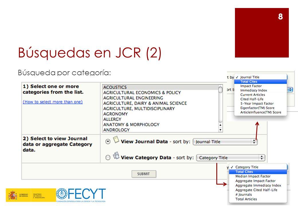 Búsquedas en JCR (2) Búsqueda por categoría: