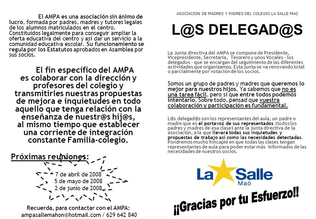 Recuerda, para contactar con el AMPA: