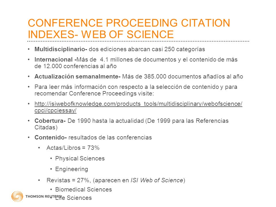 CONFERENCE PROCEEDING CITATION INDEXES- WEB OF SCIENCE