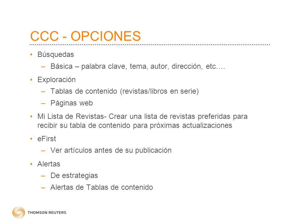 CCC - OPCIONES Búsquedas