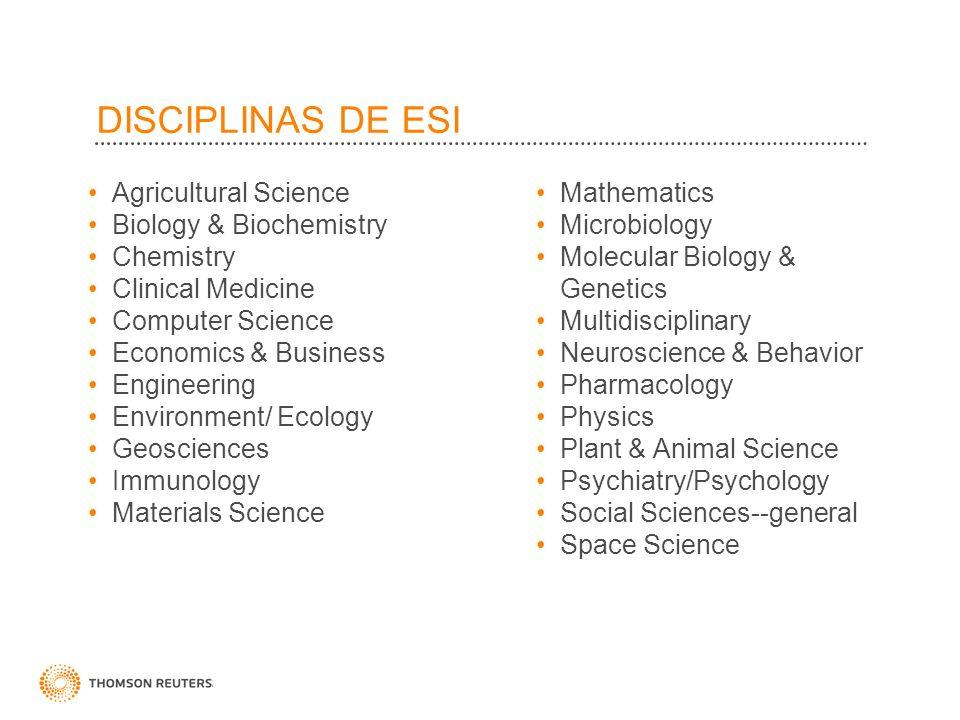 DISCIPLINAS DE ESI Agricultural Science Biology & Biochemistry