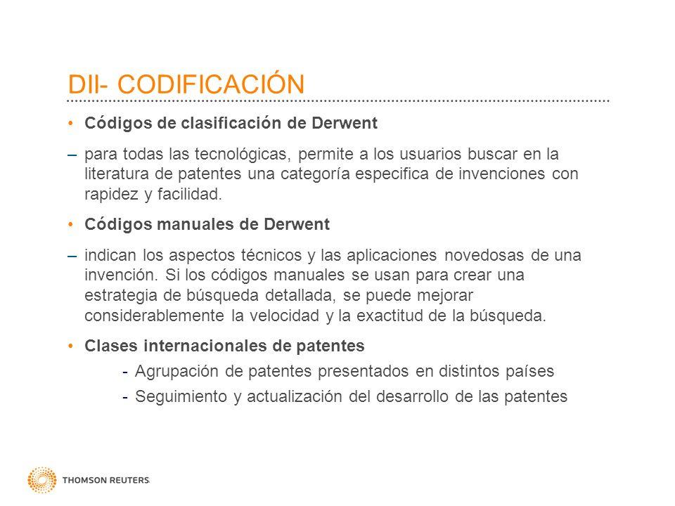 DII- CODIFICACIÓN Códigos de clasificación de Derwent