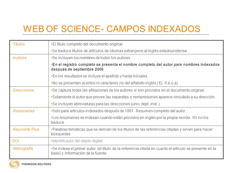 WEB OF SCIENCE- CAMPOS INDEXADOS