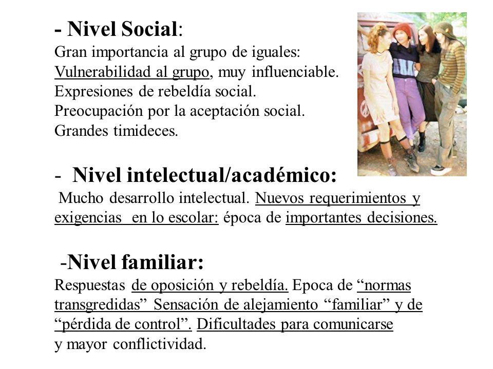 - Nivel Social: Gran importancia al grupo de iguales: Vulnerabilidad al grupo, muy influenciable. Expresiones de rebeldía social. Preocupación por la aceptación social. Grandes timideces.