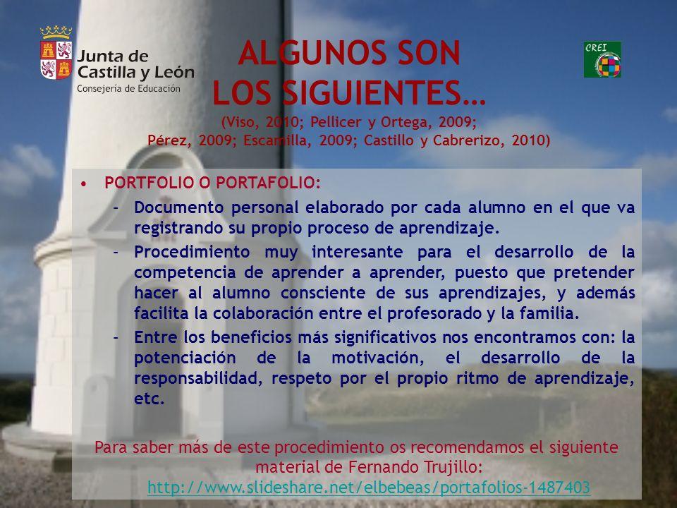 ALGUNOS SON LOS SIGUIENTES… (Viso, 2010; Pellicer y Ortega, 2009; Pérez, 2009; Escamilla, 2009; Castillo y Cabrerizo, 2010)