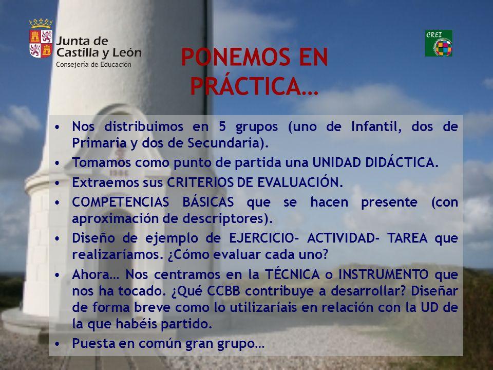 PONEMOS EN PRÁCTICA… Nos distribuimos en 5 grupos (uno de Infantil, dos de Primaria y dos de Secundaria).