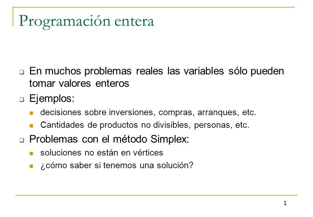 Programación entera En muchos problemas reales las variables sólo pueden tomar valores enteros. Ejemplos: