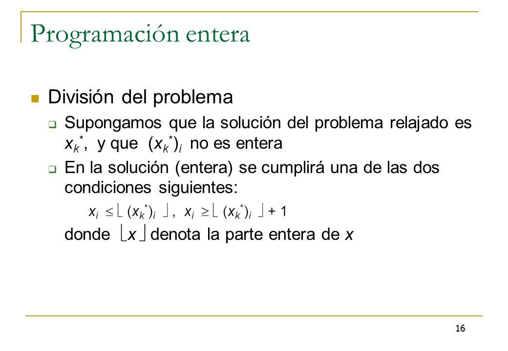 Programación entera División del problema