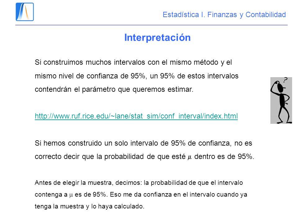 Interpretación Estadística I. Finanzas y Contabilidad