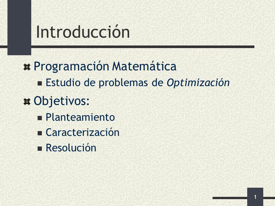 Introducción Programación Matemática Objetivos: