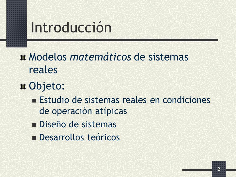 Introducción Modelos matemáticos de sistemas reales Objeto: