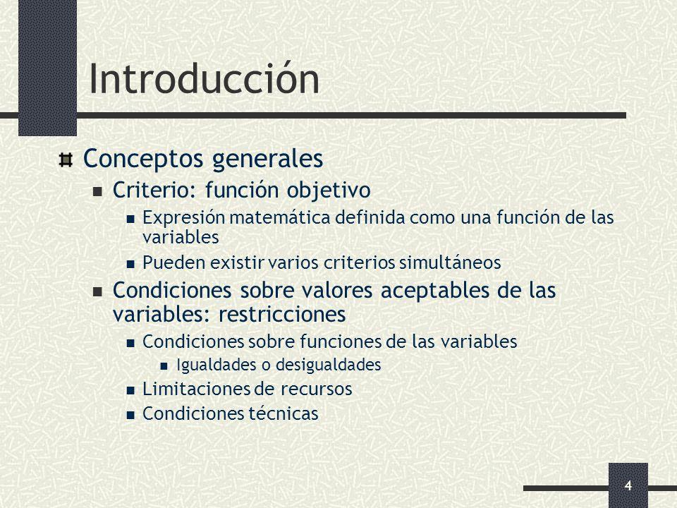 Introducción Conceptos generales Criterio: función objetivo