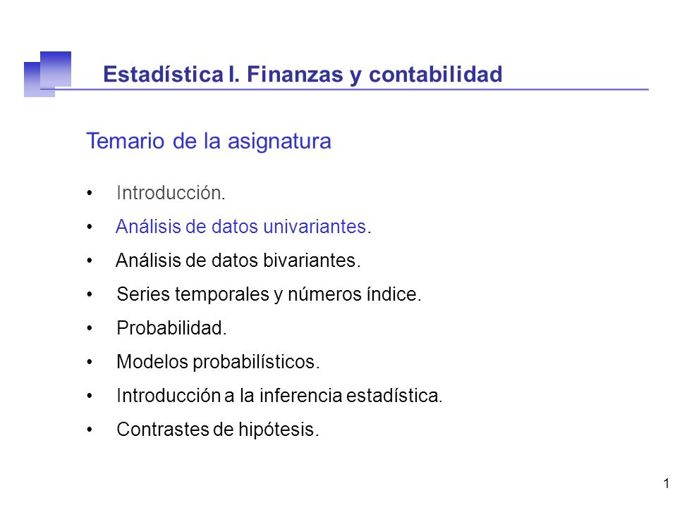 Estadística I. Finanzas y contabilidad