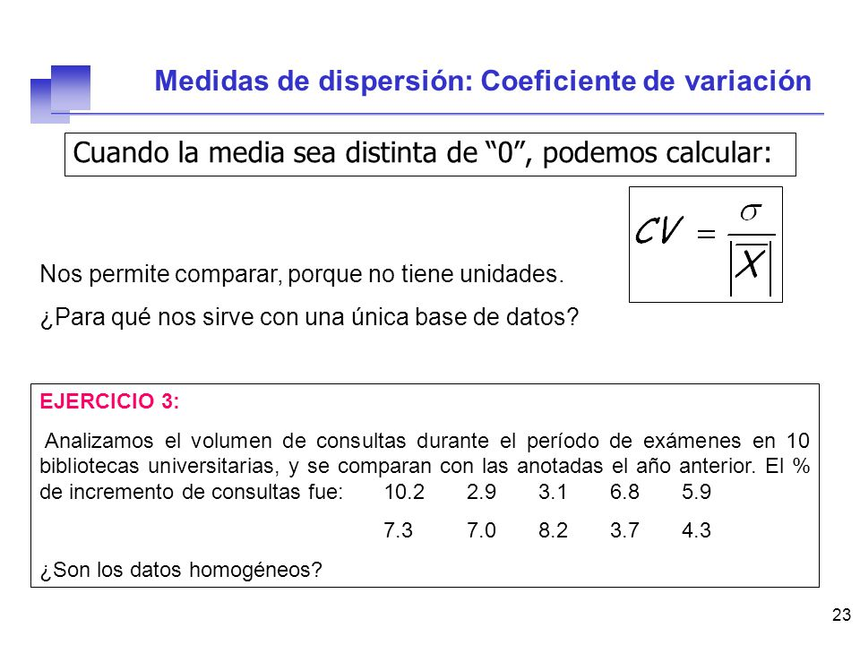 Medidas de dispersión: Coeficiente de variación