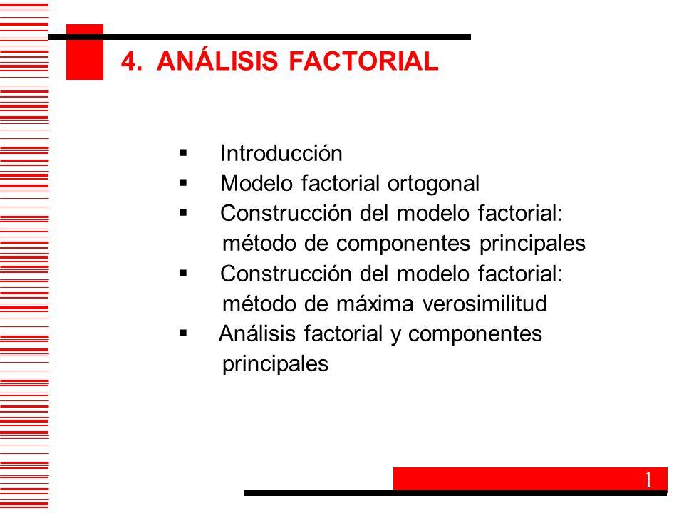 4. ANÁLISIS FACTORIAL Introducción Modelo factorial ortogonal