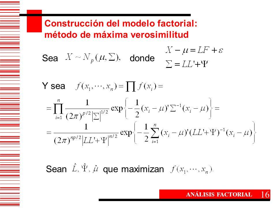 Construcción del modelo factorial: método de máxima verosimilitud