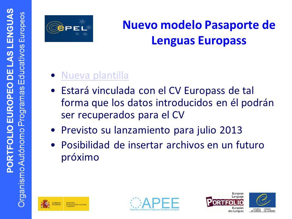 Nuevo modelo Pasaporte de Lenguas Europass