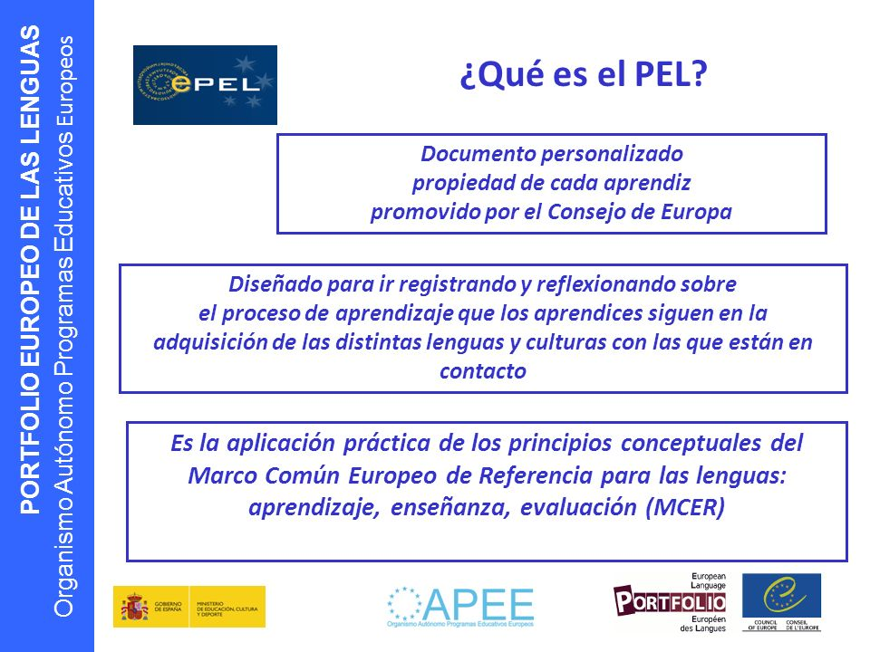 ¿Qué es el PEL Documento personalizado. propiedad de cada aprendiz. promovido por el Consejo de Europa.