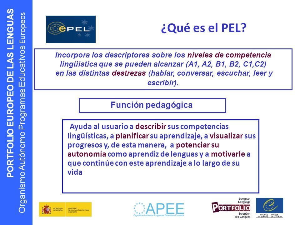 ¿Qué es el PEL Incorpora los descriptores sobre los niveles de competencia lingüística que se pueden alcanzar (A1, A2, B1, B2, C1,C2)