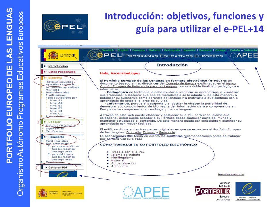Introducción: objetivos, funciones y guía para utilizar el e-PEL+14