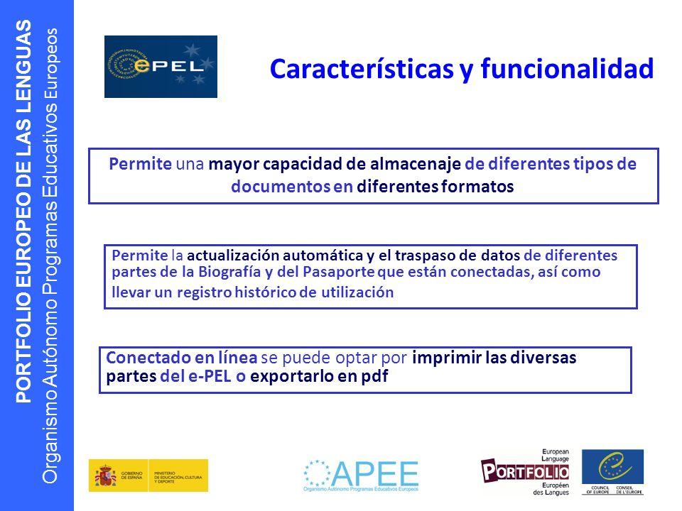 Características y funcionalidad