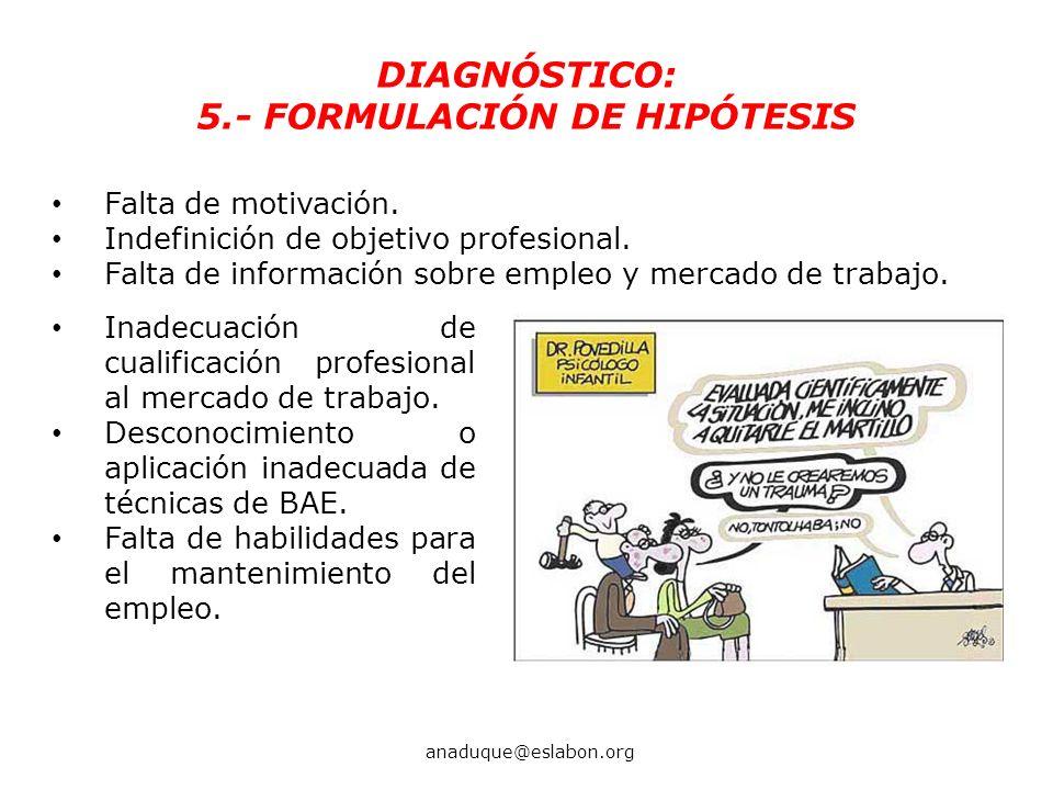 5.- FORMULACIÓN DE HIPÓTESIS