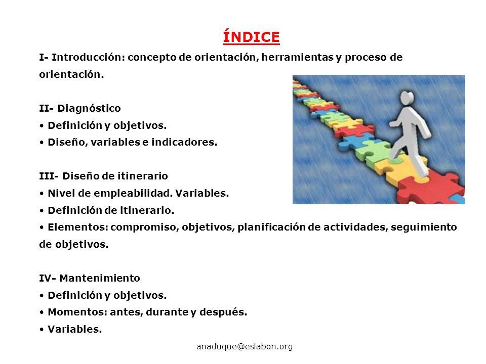 ÍNDICE I- Introducción: concepto de orientación, herramientas y proceso de orientación. II- Diagnóstico.