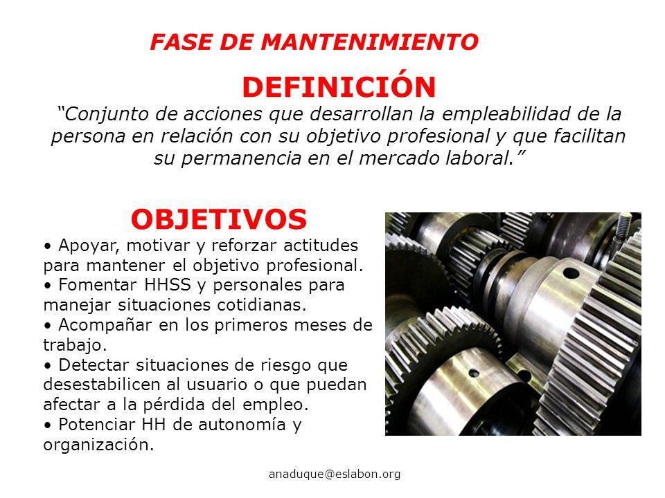 DEFINICIÓN OBJETIVOS FASE DE MANTENIMIENTO