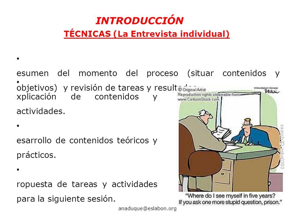 TÉCNICAS (La Entrevista individual)