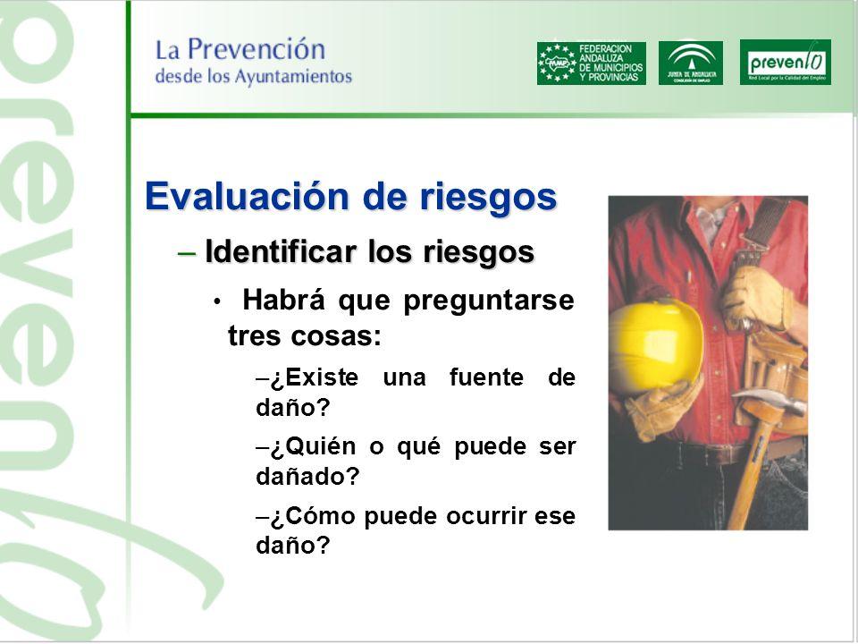 Evaluación de riesgos Identificar los riesgos
