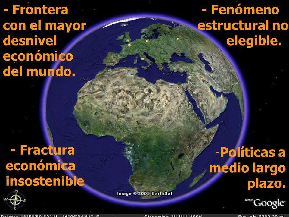 - Frontera con el mayor desnivel económico del mundo.
