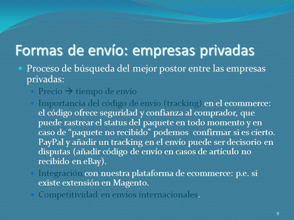 Formas de envío: empresas privadas