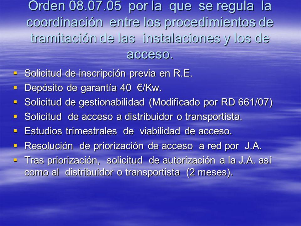 Orden 08.07.05 por la que se regula la coordinación entre los procedimientos de tramitación de las instalaciones y los de acceso.