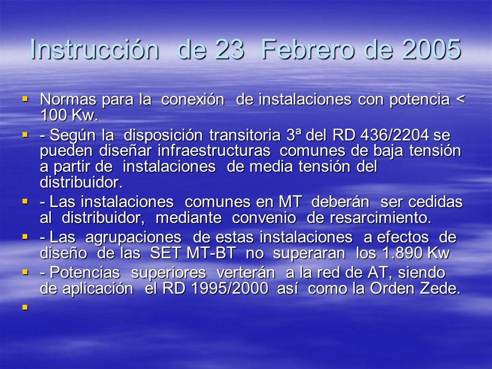 Instrucción de 23 Febrero de 2005