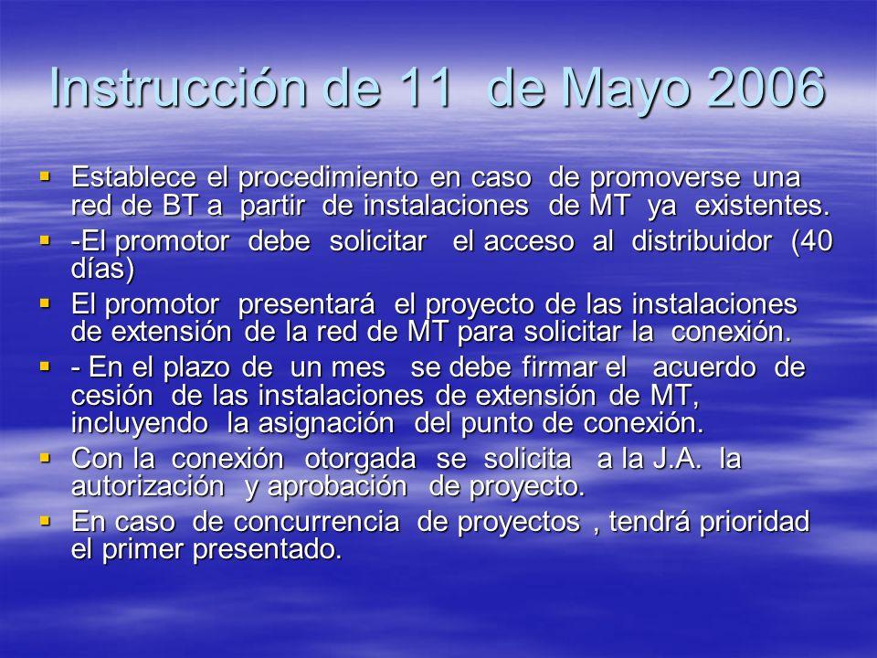 Instrucción de 11 de Mayo 2006Establece el procedimiento en caso de promoverse una red de BT a partir de instalaciones de MT ya existentes.