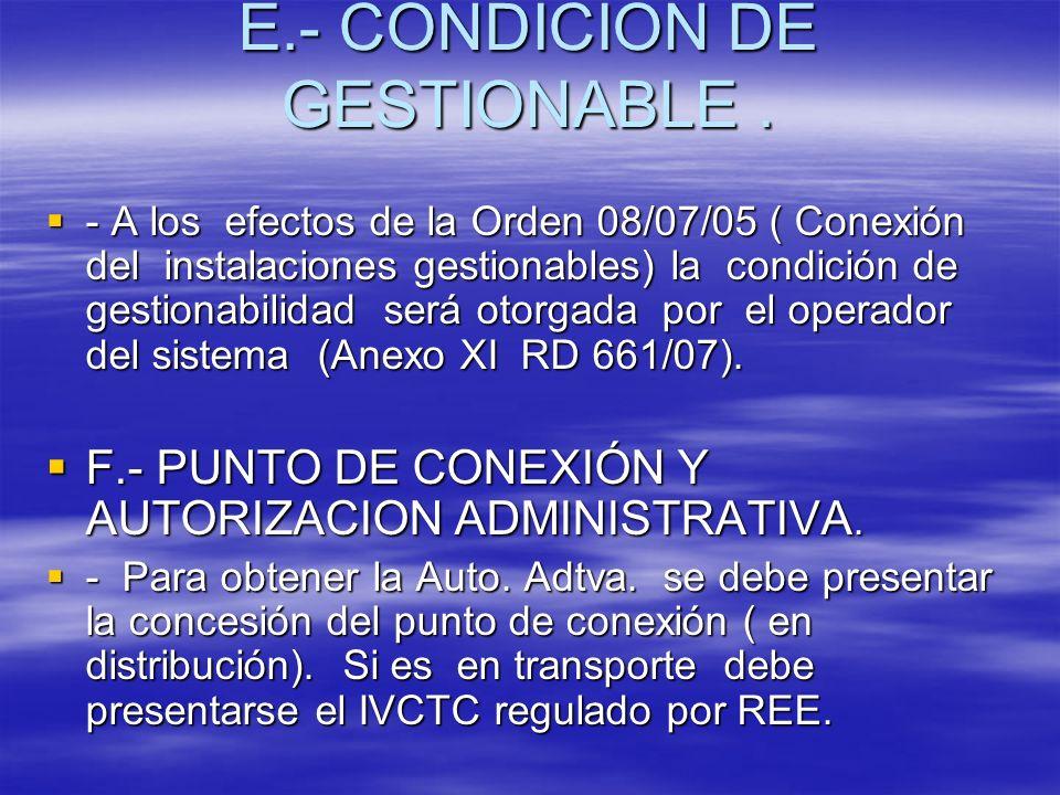 E.- CONDICION DE GESTIONABLE .