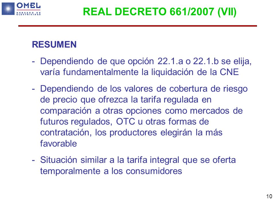 REAL DECRETO 661/2007 (VII) RESUMEN