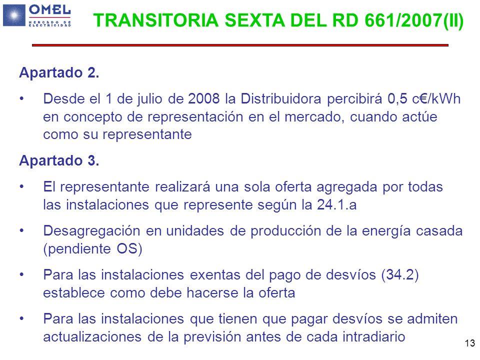 TRANSITORIA SEXTA DEL RD 661/2007(II)