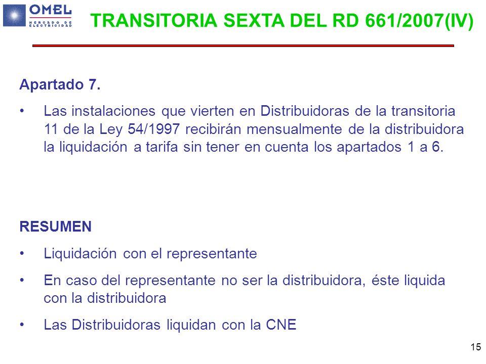 TRANSITORIA SEXTA DEL RD 661/2007(IV)