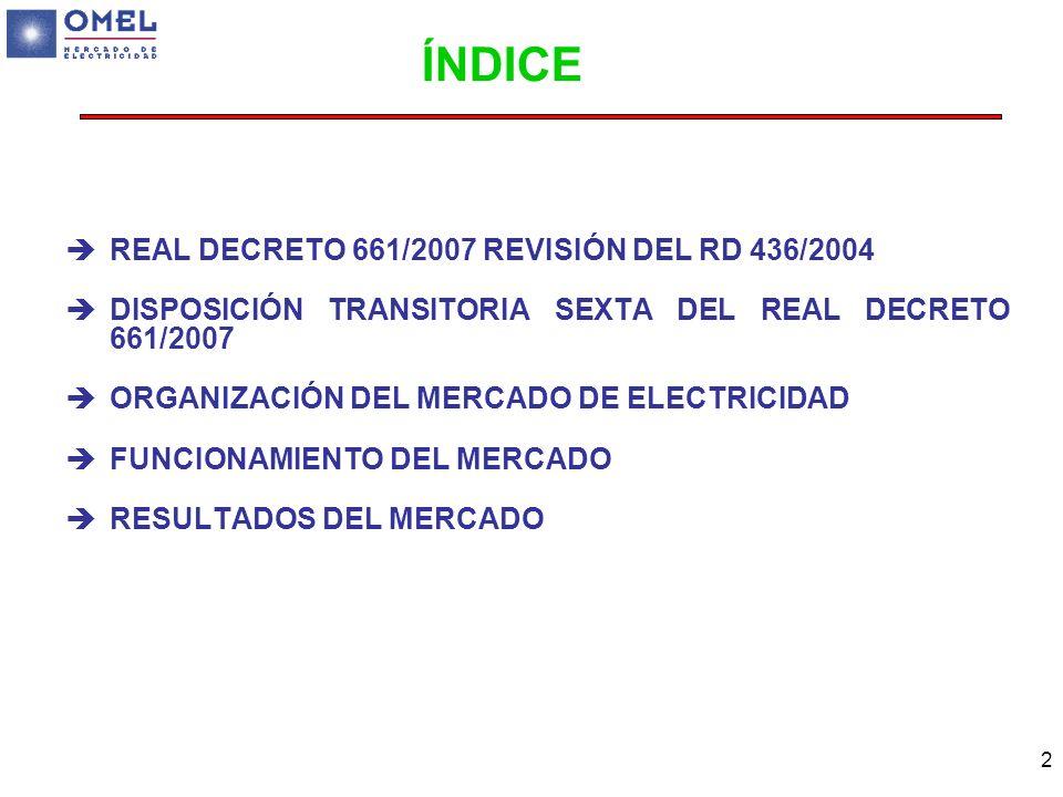ÍNDICE REAL DECRETO 661/2007 REVISIÓN DEL RD 436/2004