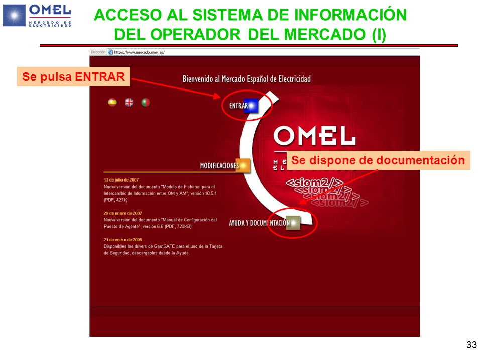 ACCESO AL SISTEMA DE INFORMACIÓN DEL OPERADOR DEL MERCADO (I)