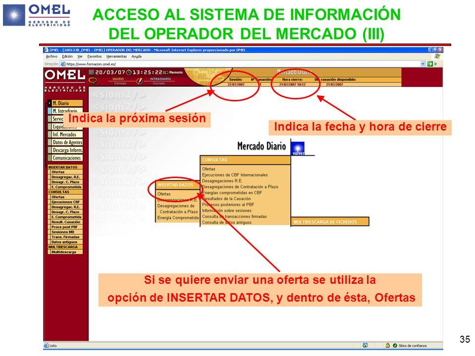 ACCESO AL SISTEMA DE INFORMACIÓN DEL OPERADOR DEL MERCADO (III)