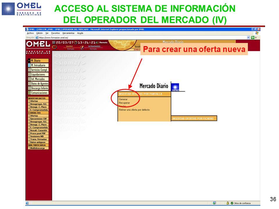 ACCESO AL SISTEMA DE INFORMACIÓN DEL OPERADOR DEL MERCADO (IV)