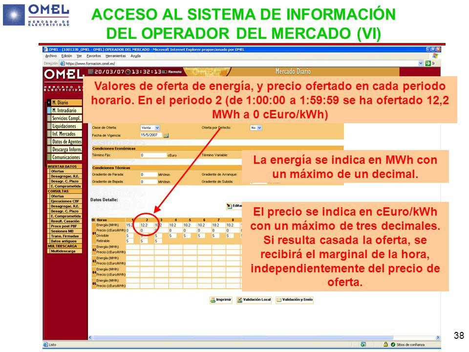 ACCESO AL SISTEMA DE INFORMACIÓN DEL OPERADOR DEL MERCADO (VI)