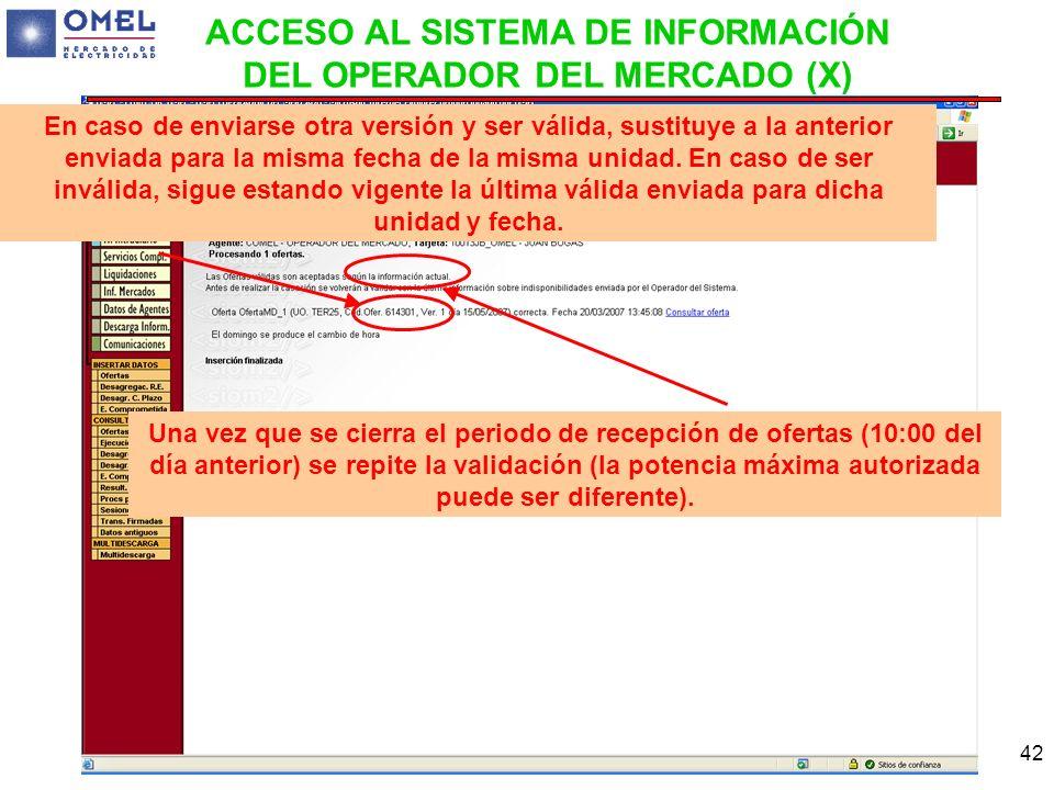 ACCESO AL SISTEMA DE INFORMACIÓN DEL OPERADOR DEL MERCADO (X)